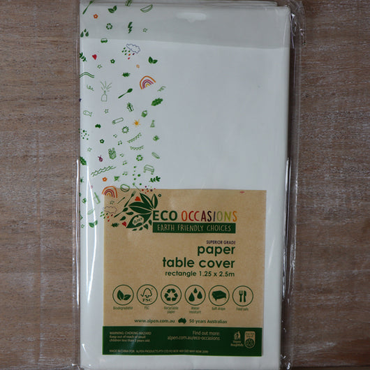 ECO Occasions table cloth | White kraft paper table cover | The French Kitchen Castle Hill