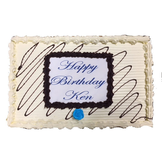 Celebration Slab Cake Caramel with Blue Script Font | Personalised Slab Cake | The French Kitchen Castle Hill