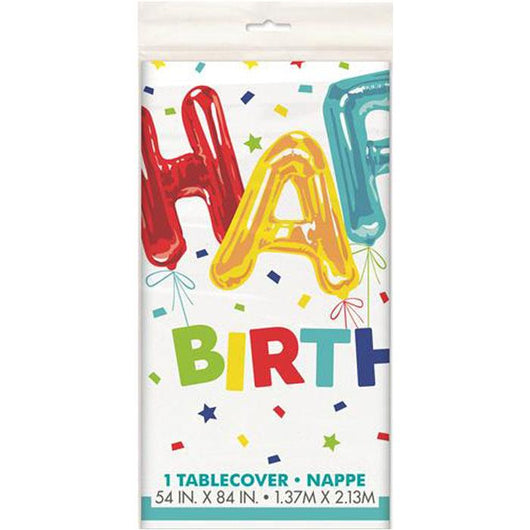 Happy Birthday Balloon Table Cover