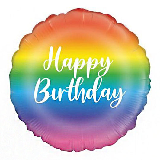 Happy Birthday Rainbow Rainbow Metallic Foil Balloon
