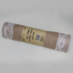 Hessian Table Runner With Lace Trim
