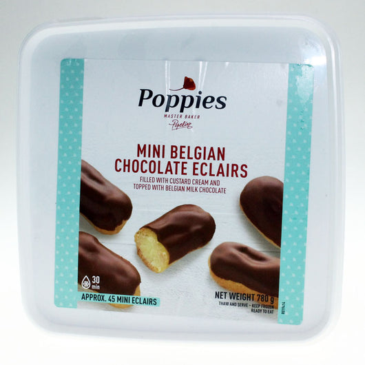 Poppies Chocolate Coated Vanilla Custard Eclairs | 12pk & 45pk | Sweet Treats | The French Kitchen Castle Hill