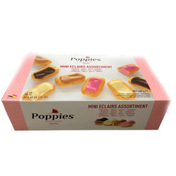Poppies Mini Eclairs Assortment | 24pk | Chocolate, Vanilla, Coffee & Raspberry | The French Kitchen Castle Hill