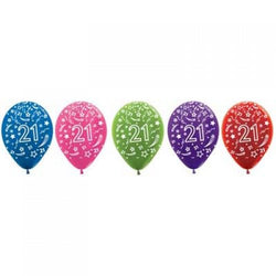Printed 30cm Latex Balloons | Double Numbers | 21