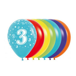 Printed 30cm Latex Balloons | Single Numbers | 3