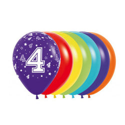Printed 30cm Latex Balloons | Single Numbers | 4