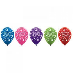 Printed 30cm Latex Balloons | Double Numbers | 50