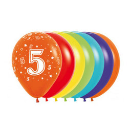 Printed 30cm Latex Balloons | Single Numbers | 5