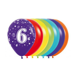 Printed 30cm Latex Balloons | Single Numbers | 6
