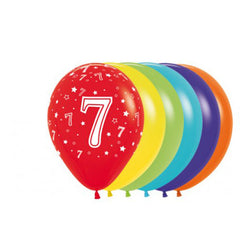Printed 30cm Latex Balloons | Single Numbers | 7