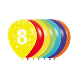 Printed 30cm Latex Balloons | Single Numbers | 8