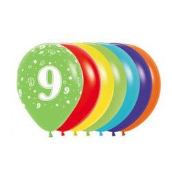Printed 30cm Latex Balloons | Single Numbers | 9