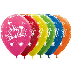 Printed 30cm Latex Balloons | Happy Birthday Bright