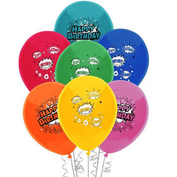 Printed 30cm Latex Balloons | Happy Birthday Comic Book