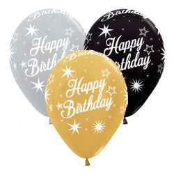 Printed 30cm Latex Balloons | Happy Birthday Metallic