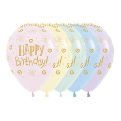Printed 30cm Latex Balloons | Happy Birthday Pastels