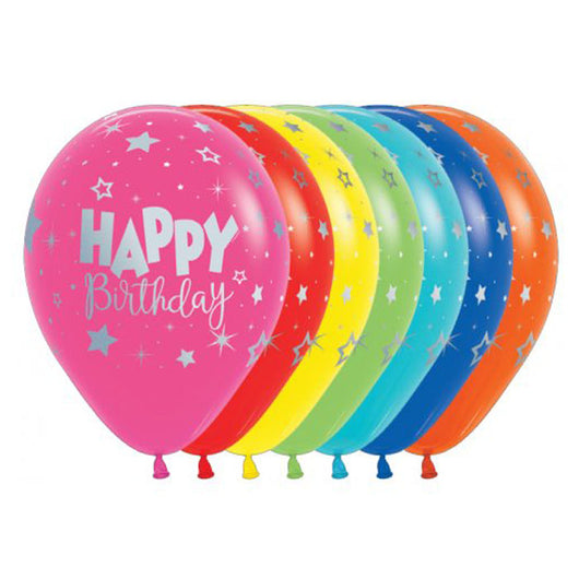 Printed 30cm Latex Balloons | Happy Birthday Bold Silver