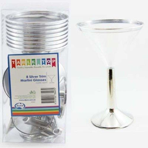 Silver Trim Martini Glasses - 12 Pack
