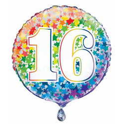 Happy Birthday | Sweet 16 | Rainbow Foil Balloon