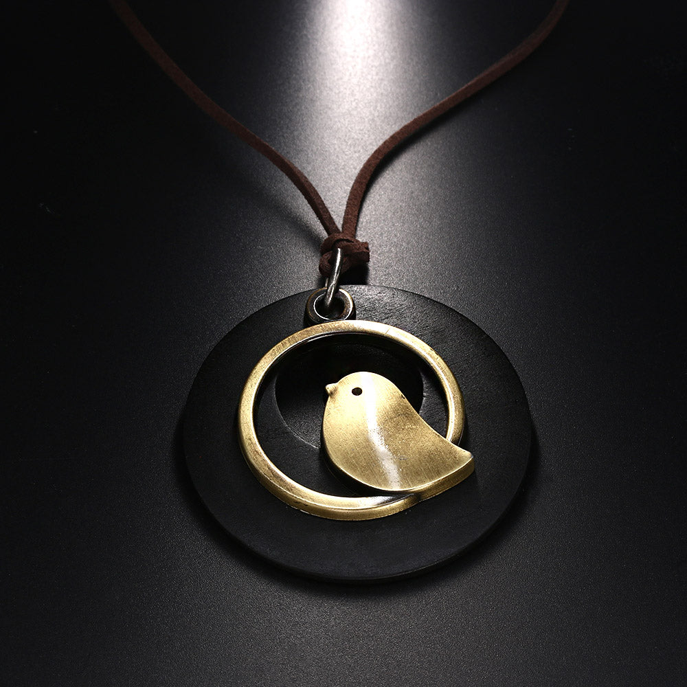 Bird wooden pendant necklace happimized wooden pendant necklace wooden pendant necklace aloadofball Choice Image