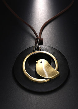Bird Wooden Pendant Necklace