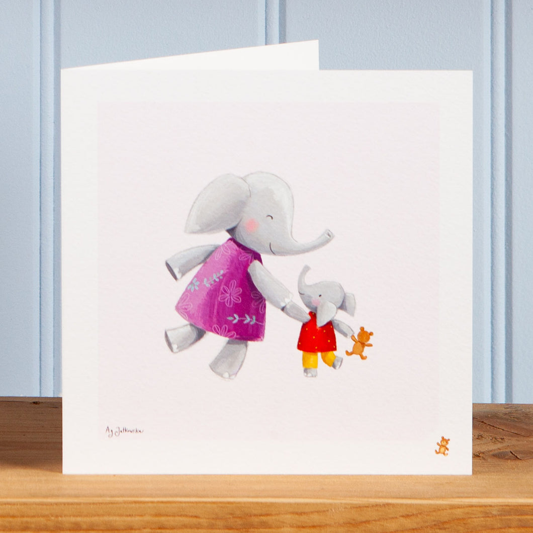 'Walking with Mum' Greetings Card