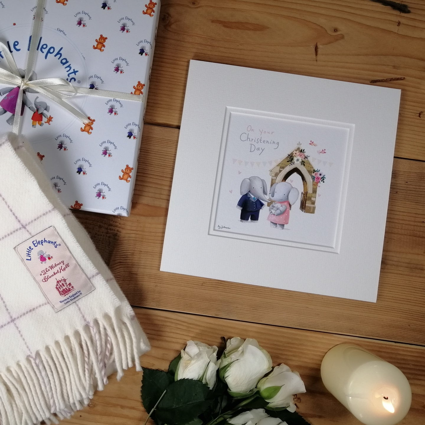Baby Blanket with Christening Print & Card
