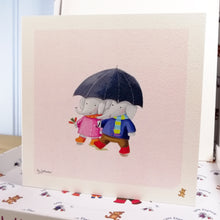 """Walking in the rain"" Fine Art Print with matching Greetings Card & Gift Wrap"