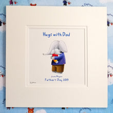 """Hugs with Dad"" - Fine Art Personalised Print with matching Greetings Card & Gift Wrap"