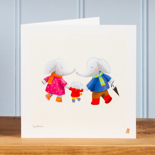 'Walking with Mum and Dad' Greetings Card