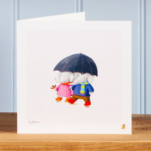 'Walking in the rain' Greetings Card
