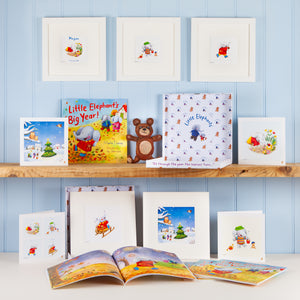 """Little Elephant's Big Year!"" Premium Gift Box with Picture Book, Fine Art Print and Greetings Card"