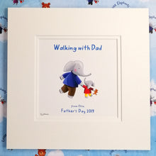 """Walking with Dad"" - Fine Art Personalised Print with matching Greetings Card & Gift Wrap"
