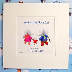 """Walking with Mum & Dad"" - Fine Art Personalised Print with matching Greetings Card & Gift Wrap"