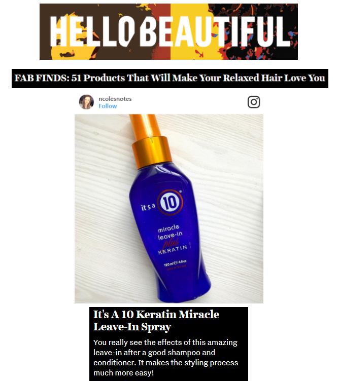 Miracle Leave-In Plus Keratin is One of Hello Beautiful's Fab Finds