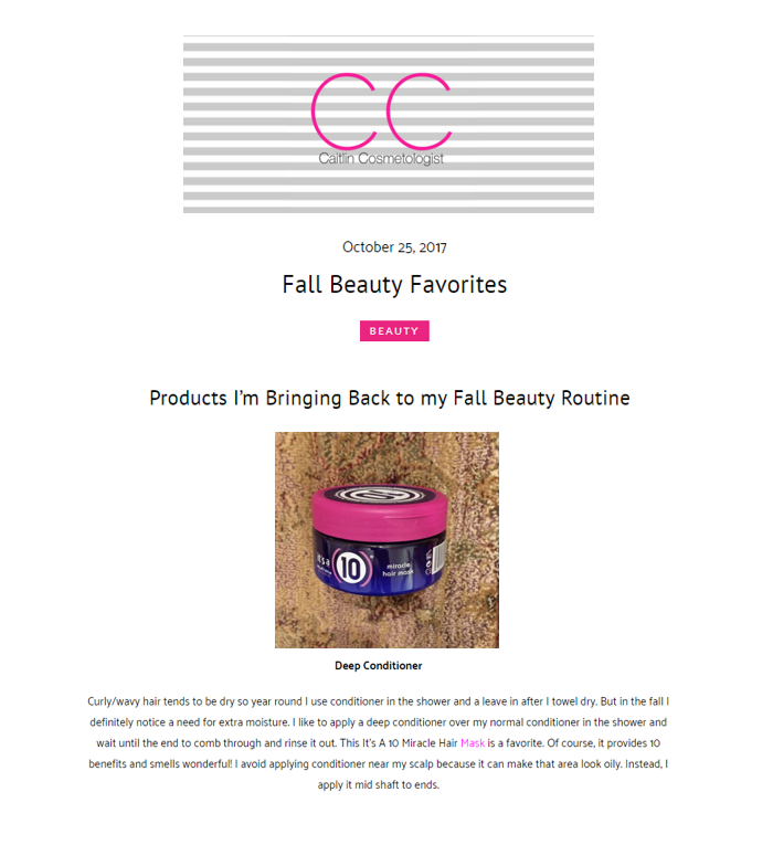 It's A 10 Miracle Hair Mask is Blogger Caitlin Cosmetologist's Fall Beauty Favorite