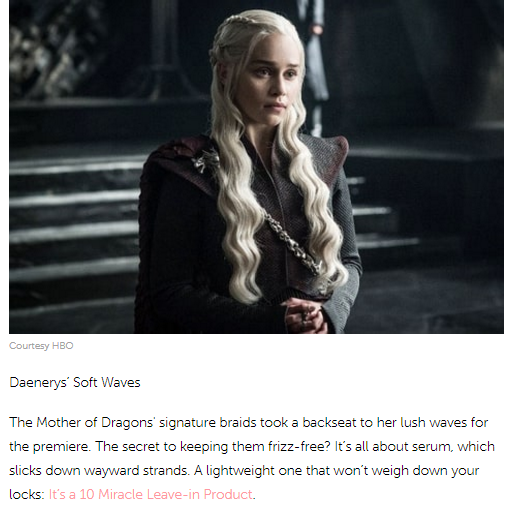"USMagazine.com Features It's a 10 Miracle Leave-In As Part of Its ""Game of Thrones"" Beauty Trends"
