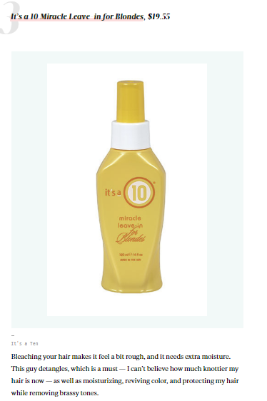 HelloGiggles.com Features It's a 10 Miracle Leave-In for Blondes