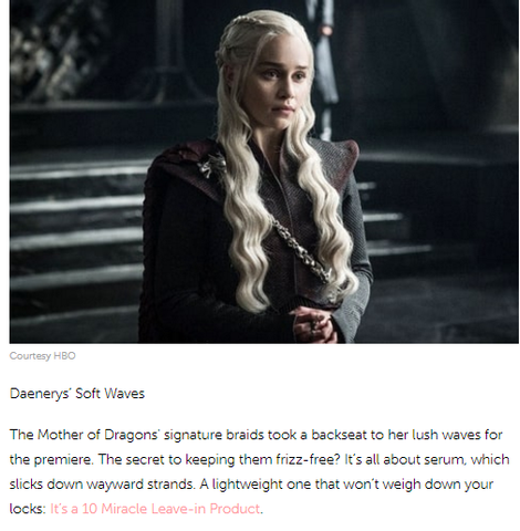 Daenerys Games of Thrones hairstyle inspiration with It's a 10 Haircare