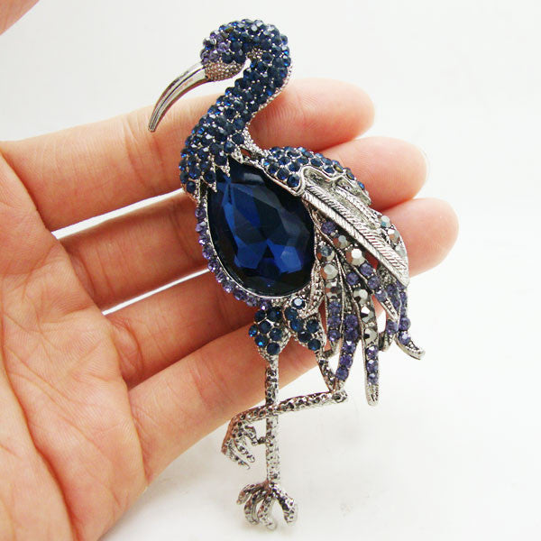 Blue Flamingos Crystal Pin