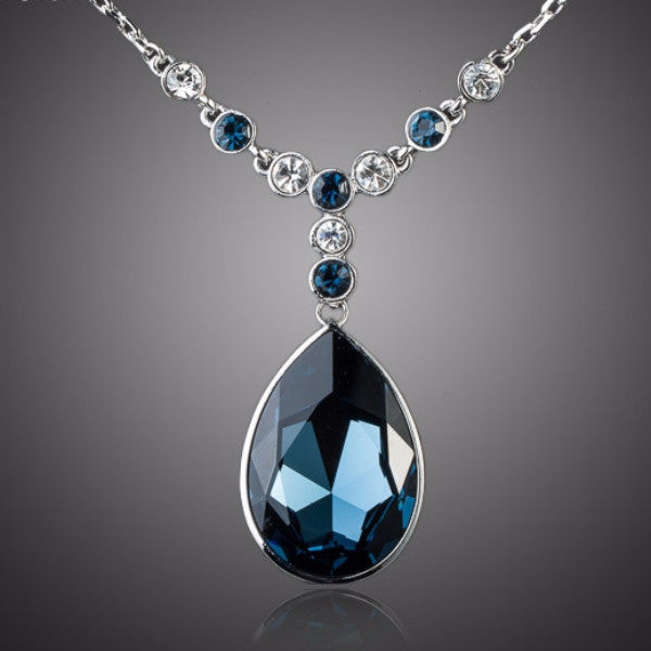 Ink Blue Stellux Austrian Crystal Necklace