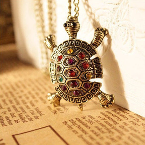 Classic Style Turtle Necklace (w/ Crystal Drops)