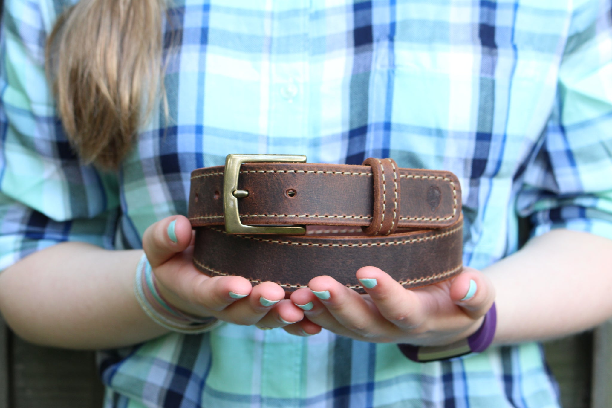 True Blue Buffalo Belt - Slim with Stitching
