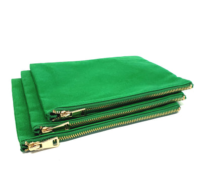 Kelly Green Cosmetic Bags - 3pk