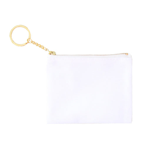 Blank Zip Card Key Fob - White/White - 6pk