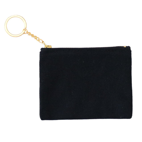 Blank Zip Card Key Fob - Black/Black - 6pk
