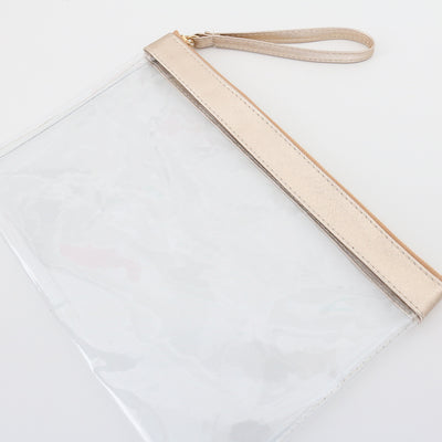 Clear Vinyl Gold Stadium Bags - 3pk