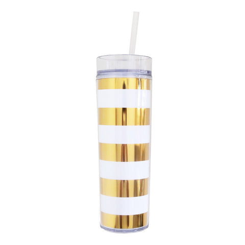16oz Gold and White Stripes Skinny Tumblers - 24pk
