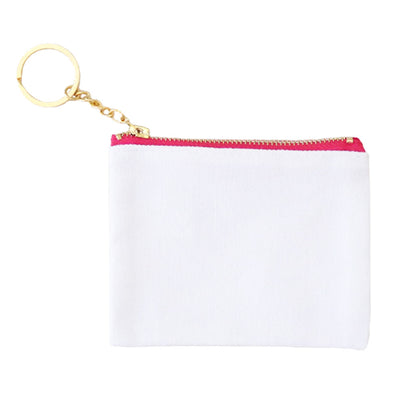 Canvas Credit Card Key Fob - White/Pink - 6pk