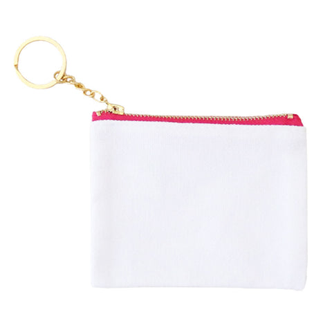 Blank Zip Card Key Fob - White/Pink - 6pk